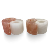 Natural Himalayan Salt Yin Yang Tealight Candle Holder - Set of Two