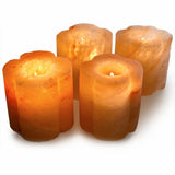Natural Himalayan Bamboo Shaped Salt Candle Holder - Set of Two