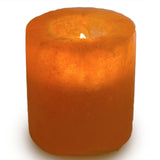 Natural Himalayan Cylinder Shaped Salt Candle Holder - Set of Two
