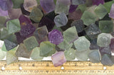 Natural Unpolished Rainbow Fluorite Octahedron Crystals from China -Medium Size