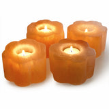 Natural Himalayan Flower Shaped Salt Candle Holder - Set of Two