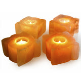 Natural Himalayan Leaf Shaped Salt Candle Holder - Set of Two