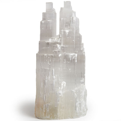 Handcrafted Natural Selenite Double Skyscraper Lamps - 12 Inch Avg.