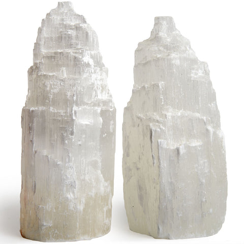 2 pcs of Handcrafted Natural Selenite Skyscraper Lamps - 8 Inch Avg.