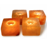 Natural Himalayan Cube Shaped Salt Candle Holder - One Piece