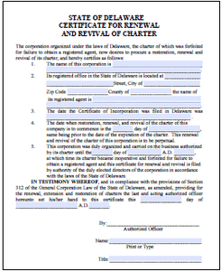 Certificate of Renewal/Revival - Delaware Business Incorporators, Inc.