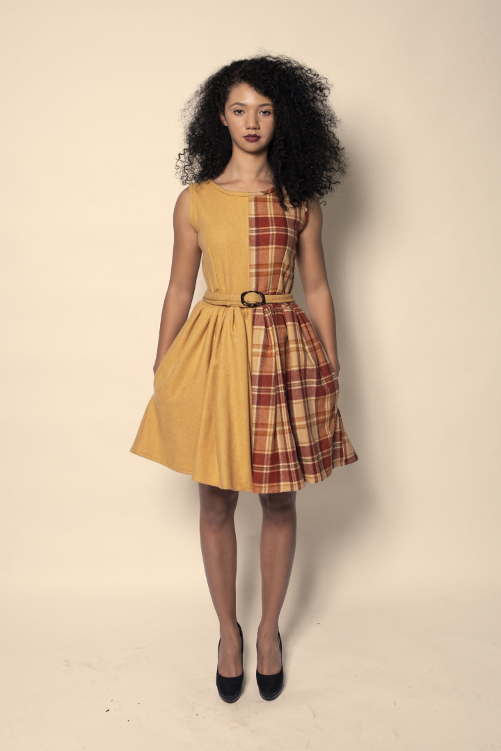 Orange & Dijon 1/2 Plaid Dress