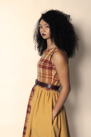 Orange & Dijon 1/2 Plaid 'Bohemian Quinn' Dress