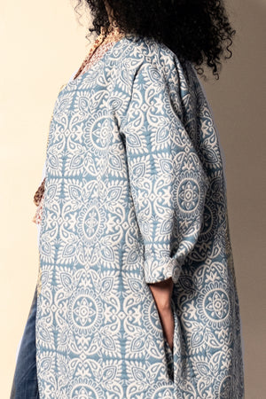 Textured Cool Blue Mandala Patterned Coat