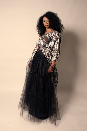 Black Floor Length Tulle Skirt