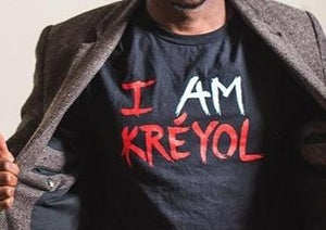 "Black Unisex ""I Am Kreyol"" T-Shirt w/ red & white lettering"