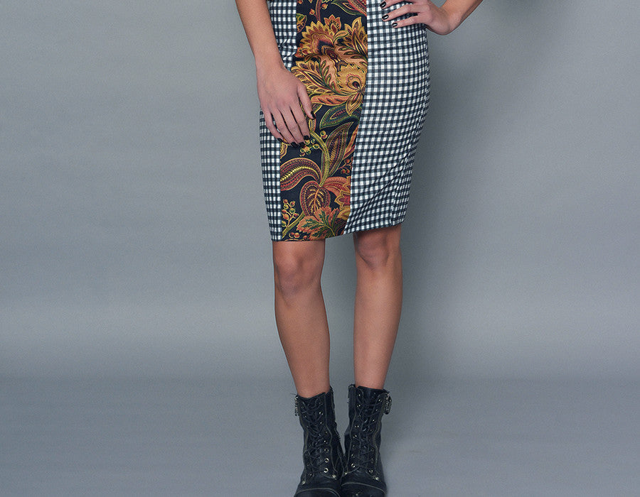 Gingham and Paisley Three-Panel Pencil Skirt