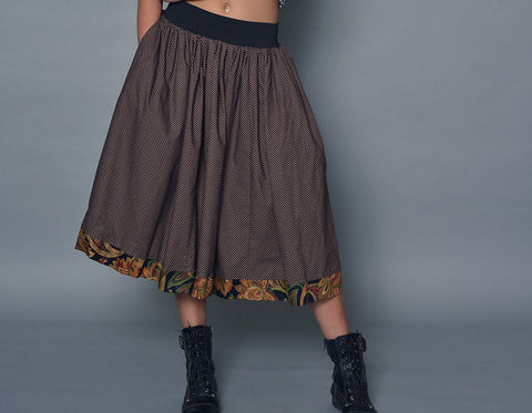 Large Brown Polka Dot A-Line Skirt With Paisley Detail