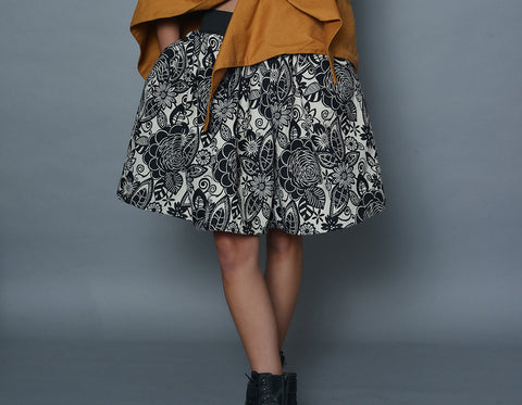 Black and White Floral A-Line Skirt