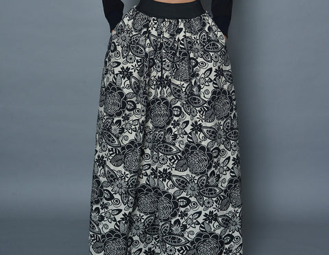 Small Black and White Floral Floor Length Skirt