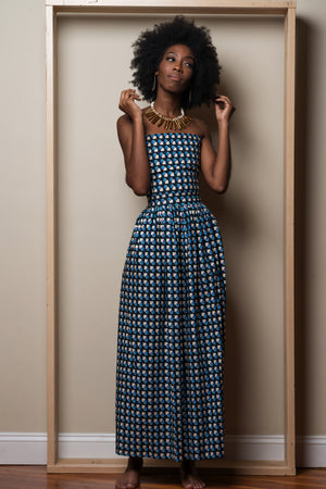 Blue and White Patterned Printed Dress