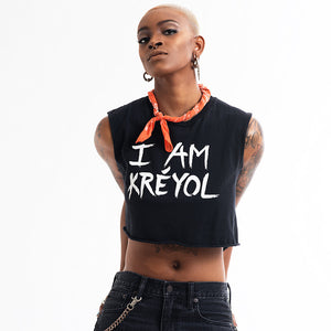 BLACK Cropped Classic I Am Kreyol T-Shirt