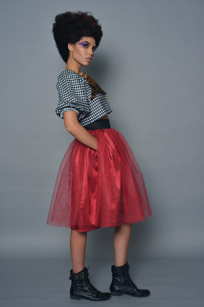Red A-Line Tulle Skirt