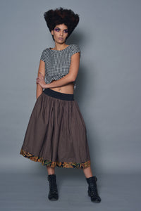 Brown Polka Dot A-Line Skirt With Paisley Detail