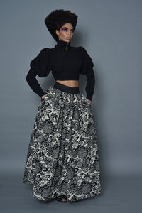 Black and White Floral Floor Length Skirt