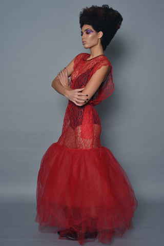Red Lace and Tulle Mermaid Dress