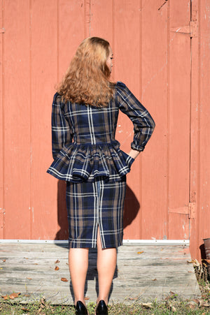 Plaid Blue & Brown Pencil Skirt