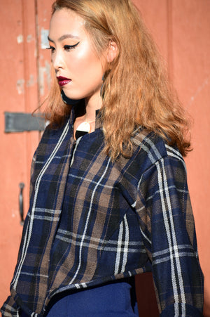 Plaid Blue & Brown Bolero