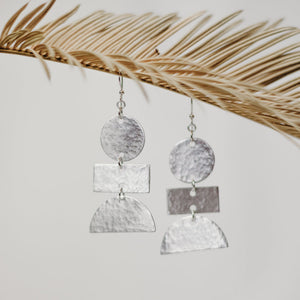 Dancing Shapes Aluminum Earring (Circle, Rectangle & Half moon)