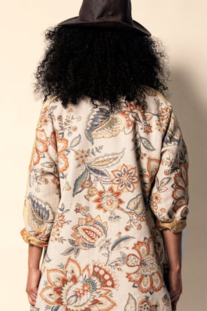 Textured Jacquard Floral Patterned Coat