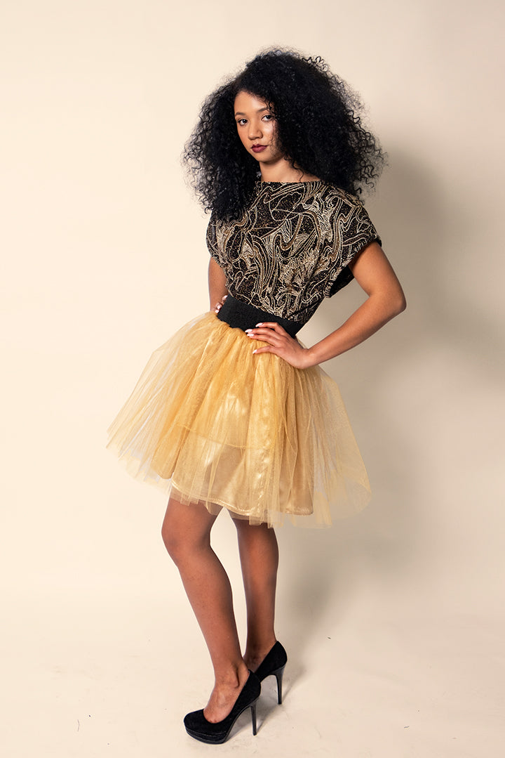 Gold Short Tulle Skirt