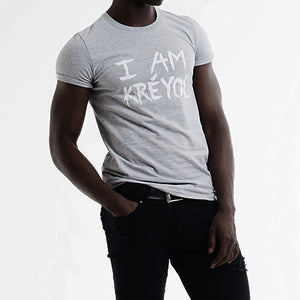 "Grey Unisex ""I Am Kreyol"" T-Shirt w/ white lettering"