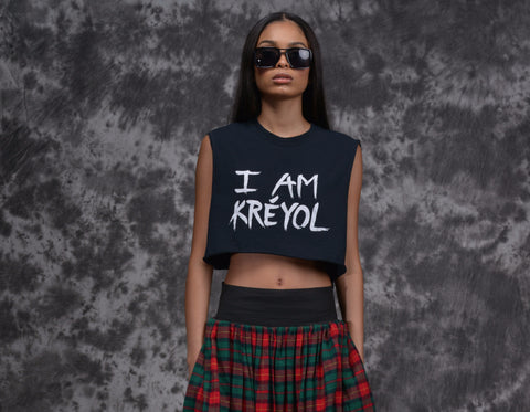 "BLACK Cropped ""I Am Kreyol"" T-shirt"