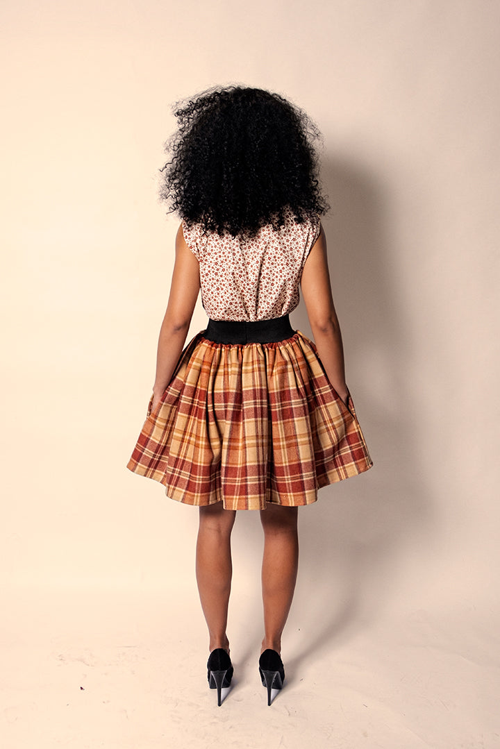 Orange & Dijon Plaid Short A-Line Skirt w/ Elastic Waist