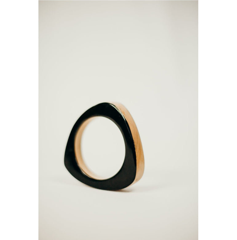 Stacked Wood + Horn Triangle Bangle