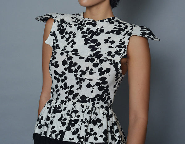 Small Black and White Peplum Blouse
