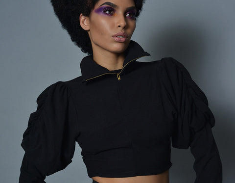 Black Jersey Bouffant Sleeve Cropped Sweatshirt