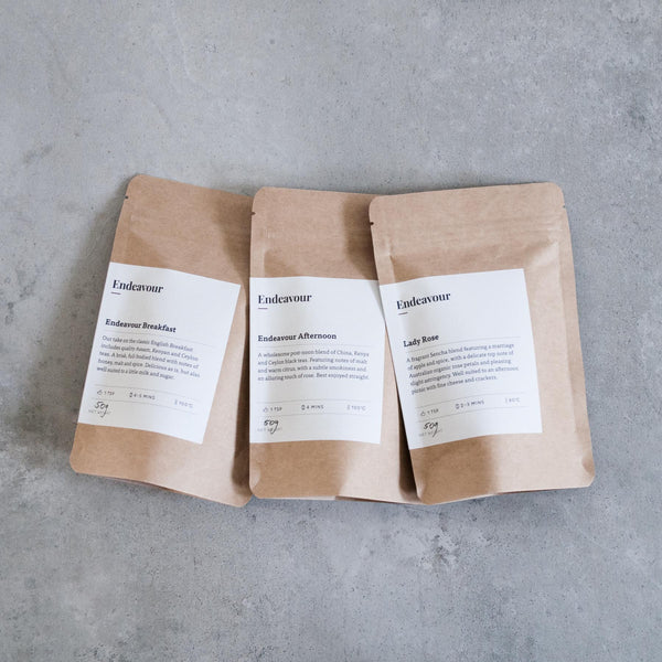 Endeavour Everyday Bundle: Endeavour Breakfast, Endeavour Afternoon, Lady Rose — hand-blended loose leaf tea