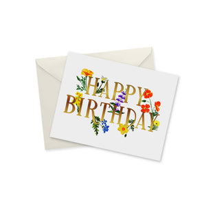 doodles.ink. - Happy Birthday Wildflowers Gold Foil Notecard