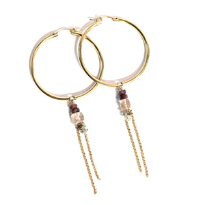 Gemstone Hoop Dangles