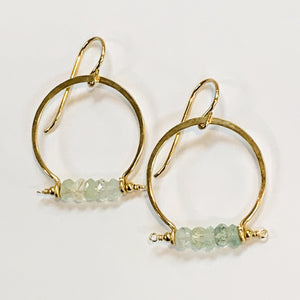Aquamarine Hoops - 14k Gold Filled