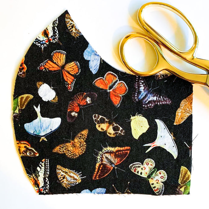 Adult Mask w/ Filter Pocket ~ Butterfly Migration Print