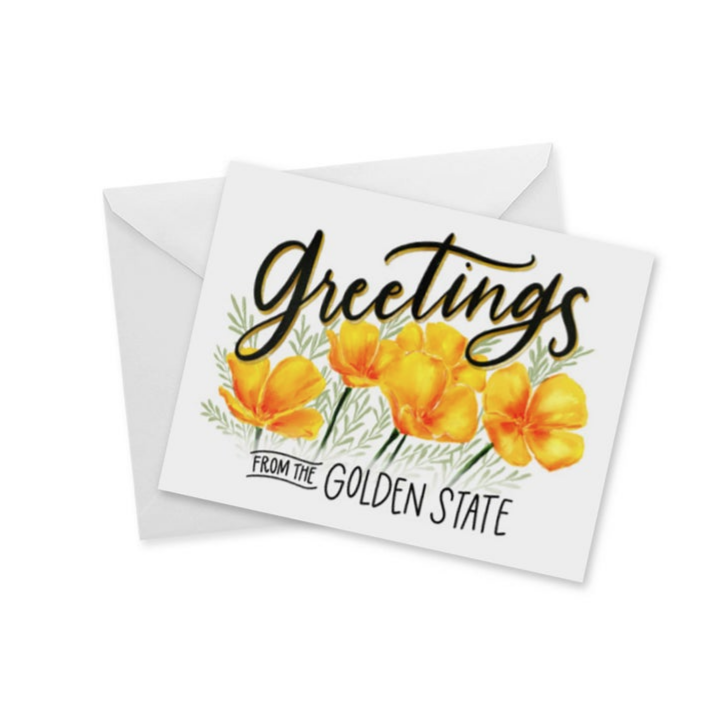 Greetings From The Golden State Poppies Notecard
