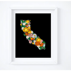 Black Floral California Art Print