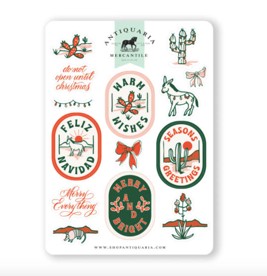 Cactus Holiday Sticker Sheet