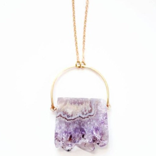 Amethyst Stalactite Slice Arch Necklace ~ Brass