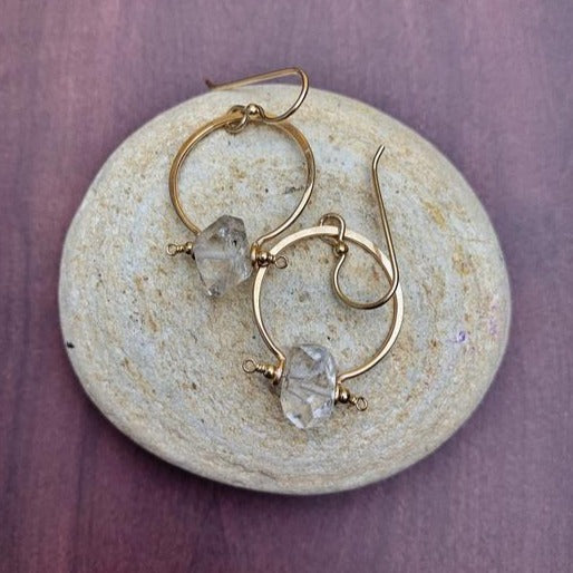 Benny Earrings - 14k Gold Herkimer Diamond