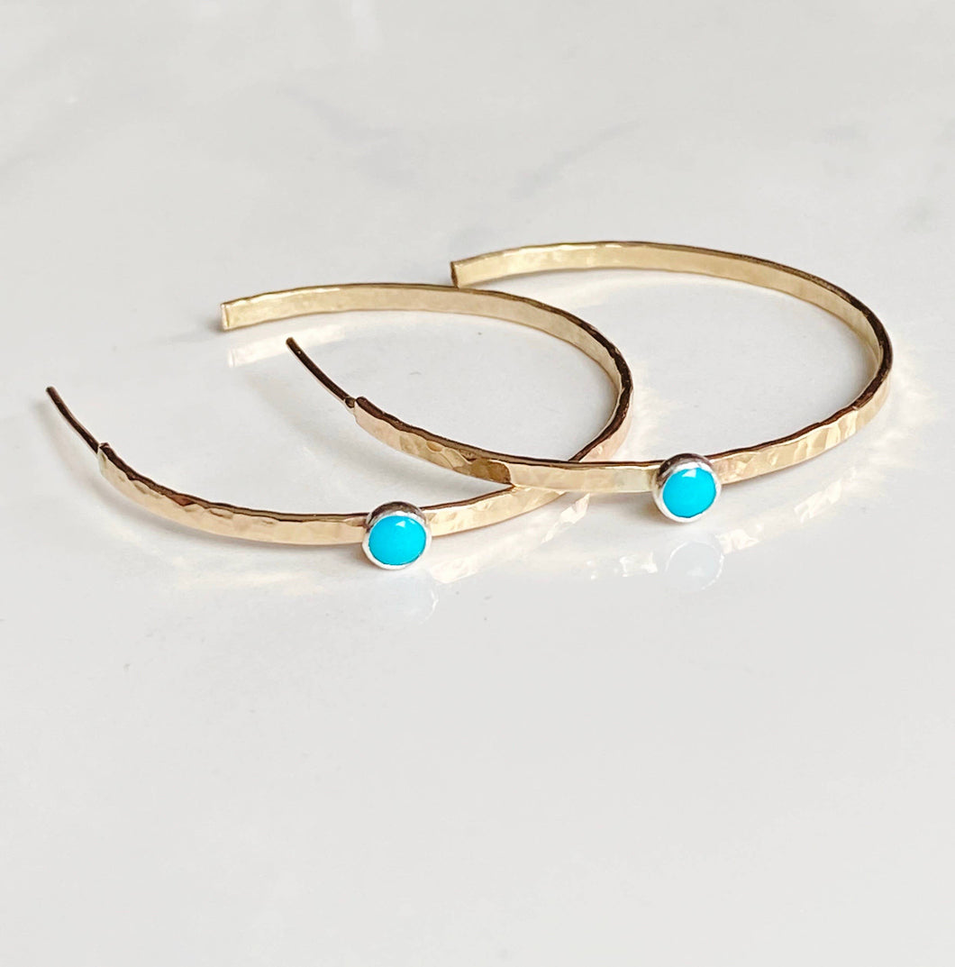 Modern turquoise Hoop Earrings