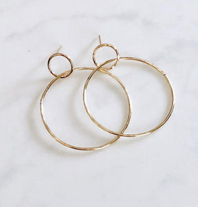 Modern Double Circle Post Earrings ~ Gold