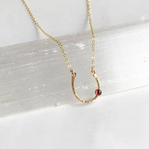 Lucky Horseshoe Necklace - Garnet - 14k Gold Fill
