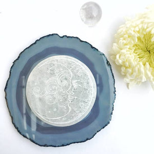 Moon Beams Round Selenite Charging Disk